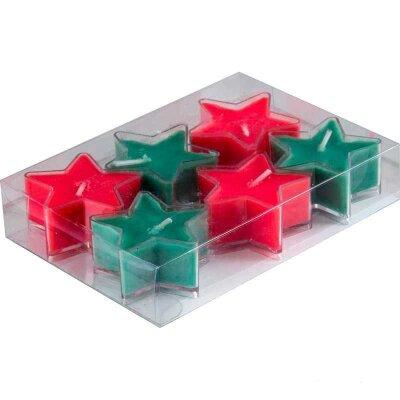 Рыжий КОТ STAR-2 Свечи интерьерные парафиновые в наборе 6 шт, форма звезда