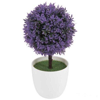 Искусственный цветок в горшке для декора Топиарий фиолетовый 24 см