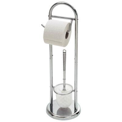 Стойка напольная для туалета с держателем для туалетной бумаги и с ершиком Рыжий КОТ B0813 64 см