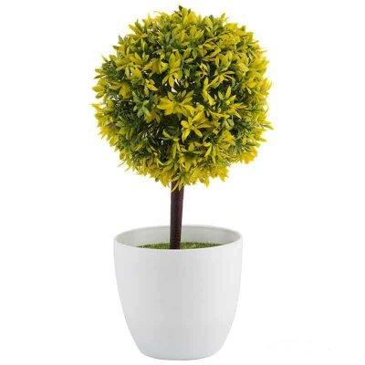 Искусственный цветок в горшке для декора Топиарий желтый 25.5 см
