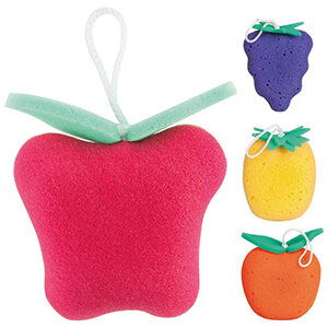 Губка для тела поролон Фрукты клубника, виноград, лимон, апельсин