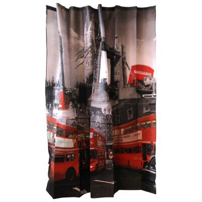 """Занавеска для ванной Рыжий кот Curtain-Bus """"Лондонский автобус"""", полиэстер, размер 180*180 см"""