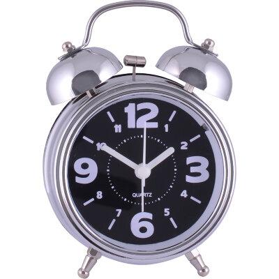 Часы будильник настольный на батарейках MAXTRONIC MAX-32D со звонком, Серебристый