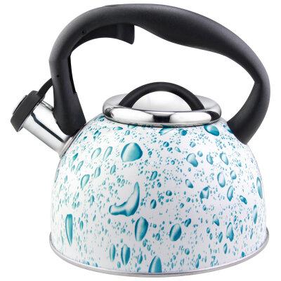 Чайник для плиты со свистком 2.5 л Mallony Lacrima белый с голубыми каплями