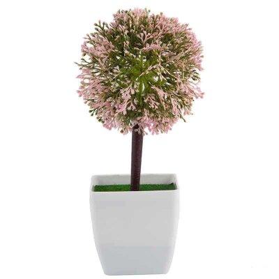 Искусственный цветок в горшке для декора Топиарий бело-розовый 24.5 см