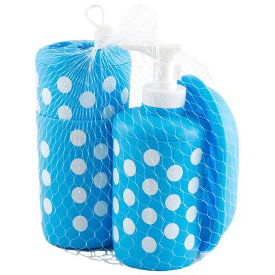 Набор для ванной Рыжий КОТ BS1 : мыльница, дозатор для мыла держатель для зубных щеток, стакан , пластик, Синий