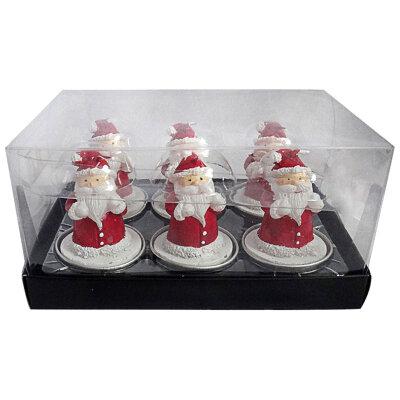 """Набор новогодних свечей """"Деды морозы"""" 6 шт парафин 14х9.5х5.5 см"""