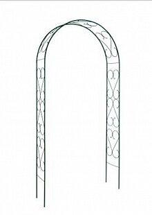 Арка садовая металлическая для вьющихся растений Узорная А 165 З 120х250х33 см, Зеленая