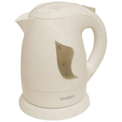 Чайник электрический 1 л 900 Вт со съемным фильтром ENERGY E-209, Бежевый пластик