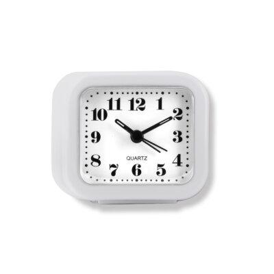 """Часы будильник настольные на батарейках MAXTRONIC MAX-3011-3 """"Экстра белый"""", 8,1x3,8x7,5 см, квадратный"""