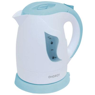 Электрический чайник пластиковый на 1 литр ENERGY E-209 фильтр, 900 Вт, Бело-голубой