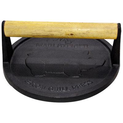 Пресс для гриля чугунный 18 см Mallony PRESSA круглый с деревянной ручкой, диаметр 18 см