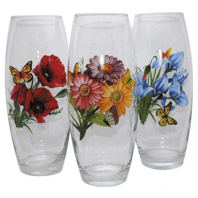 Ваза для цветов из стекла Odore высота 26 см цветочный рисунок в ассортименте