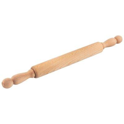 Скалка для раскатывания теста 40 см с вращающимися ручками бук Mallony