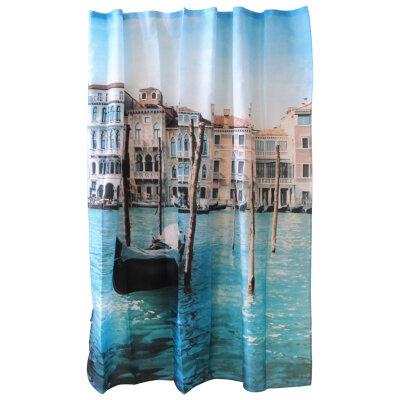 """Рыжий КОТ Curtain-Venice Занавеска для ванной """"Венеция"""", полиэстер, размер 180х180 см"""