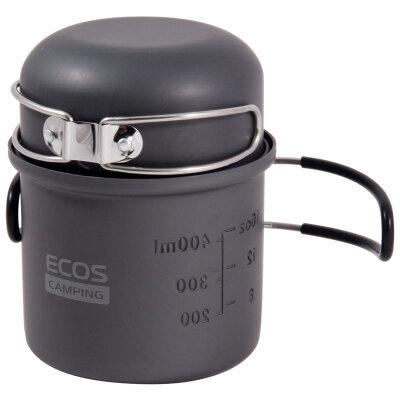 Котелок походный 0.5 литра с крышкой ковшом 250 мл ECOS P02203-11
