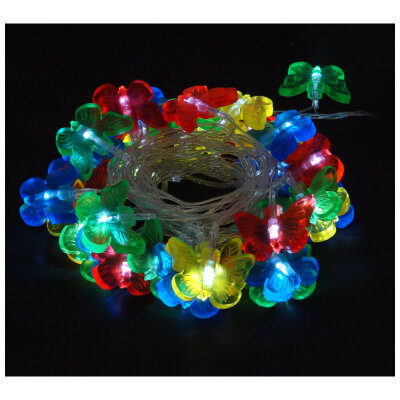 """Гирлянда светодиодная мигающая """"Бабочки"""" LED-BT-36-3.6-MC многоцветная, 36 LED 3.6 метра"""