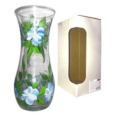 Ваза для цветов из стекла Fiorita высота 26 см с рисунком Незабудка