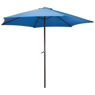 Большой садовый зонт от солнца и дождя  GU-01-BL синий высота 240 см диаметр купола 270 см, 6 спиц