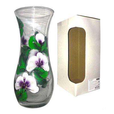 Ваза для цветов из стекла Fiorita высота 26 см рисунок Орхидея