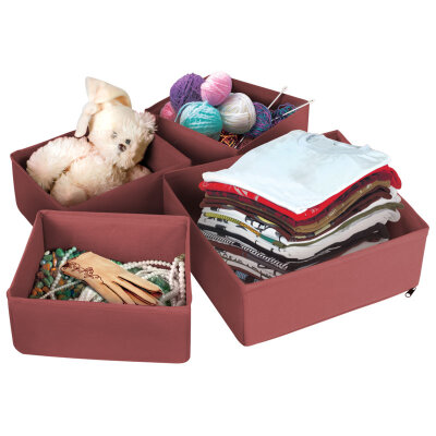 Набор коробок для хранения вещей  4 шт П-22 Рыжий КОТ