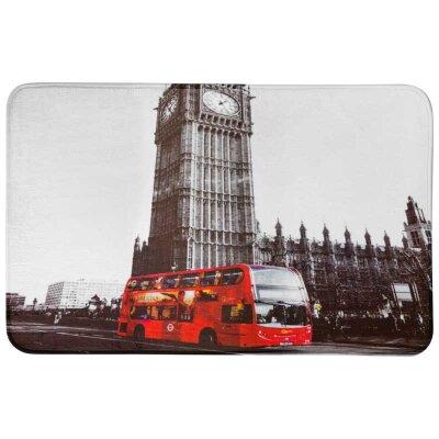 """Мягкий коврик в ванную комнату 50х80 см Рыжий кот """"Англия, Лондонский автобус"""" из микрофибры"""
