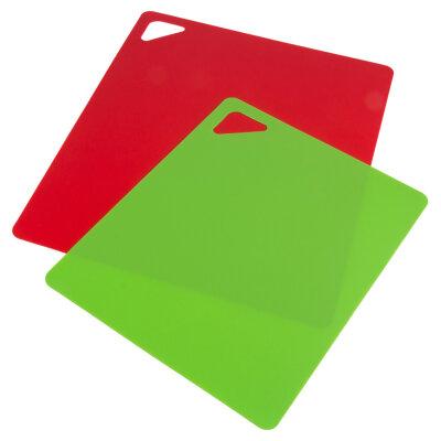 Набор гибких разделочных досок 2 шт 32.5х27 см и 27х21.5см Mallony, пластиковые, Красная и зеленая