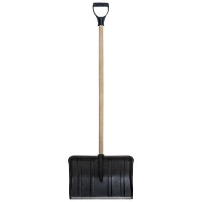 Лопата снеговая пластиковая 152 см №10 с деревянным черенком и ковшом 53х36 см с оцинкованной планкой и V-пластиковой ручкой