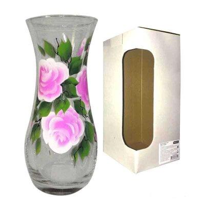 Ваза для цветов из стекла Fiorita высота 26 см с рисунком Розовые Розы