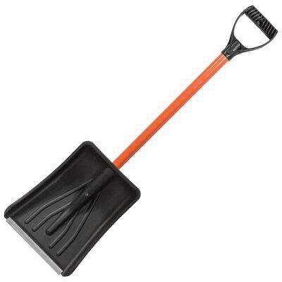 Лопата снеговая разборная автомобильная 97 см с пластиковым ковшом 36.5х28.5 см алюминиевым черенком, V-ручка