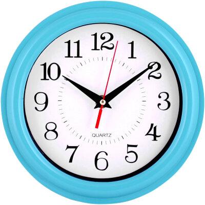 Часы круглые настенные 21 см MAXTRONIC MAX-8381B корпус - пластик, голубой ободок
