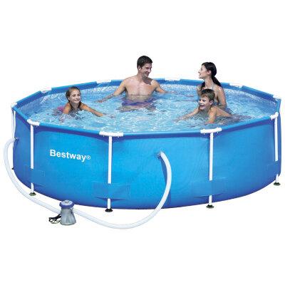 Bestway 56408 Бассейн каркасный с фильтром насосом и жесткими бортами, 305*76 см, 4678 литра