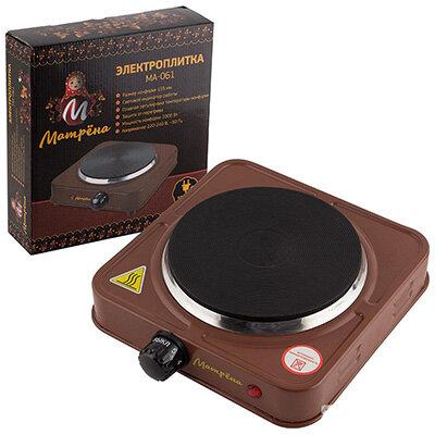 Матрёна МА-061 Настольная электрическая плита блин 1000 Вт цвет коричневый