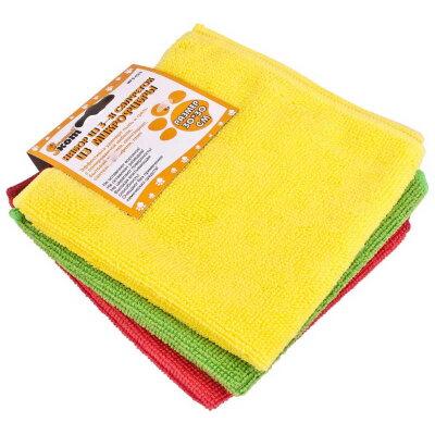 Салфетки из микрофибры 30х30 см 3 шт Рыжий Кот MFS-02/3, желтая, красная, зеленая