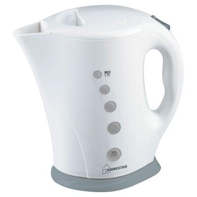 Чайник электрический пластиковый 1.7 литра HomeStar HS-1005 с открытым тэном бело-серый