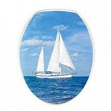 Крышка сиденье для унитаза 1020 Яхта жесткая с рисунком  пластиковая