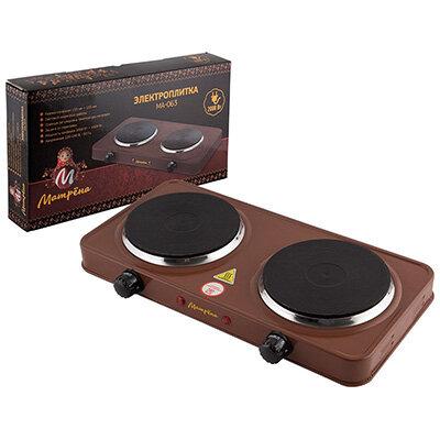 Матрёна МА-063 Настольная электрическая плита с 2 блинами цвет коричневый