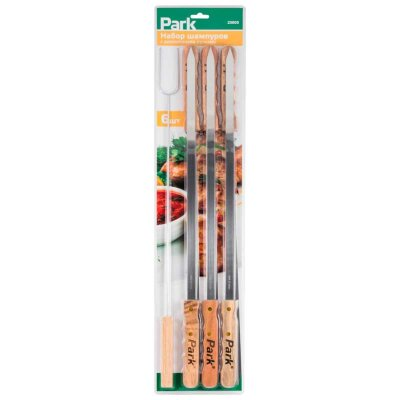 Шампура с деревянной ручкой плоские 60 см PARK 23003 для шашлыка