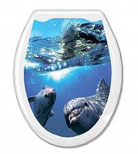 """Сиденье для унитаза жесткое """"Океан"""" с рисунком Дельфины 37х45 см"""
