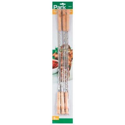 Шампуры плоские с деревянной ручкой нержавейка 60 см 6 шт PARK 23021 для шашлыка