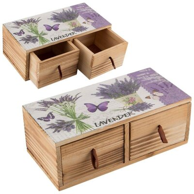 Шкатулка деревянная Лаванда 24х12х9 см 2 ящика для хранения бижутерии
