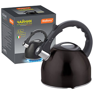 Чайник чёрный для плиты 2.5 л Mallony MAL-042-N со свистком