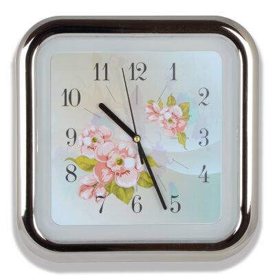 """Часы настенные квадратные 26х26 см MAXTRONIC MAX-8978E """"Цветы"""""""