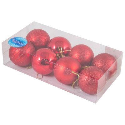 Набор из 8 красных шаров для елки 6 см SYCB17-536