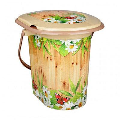 """Ведро туалет с крышкой 17 литров М2328 """"Летний день"""""""