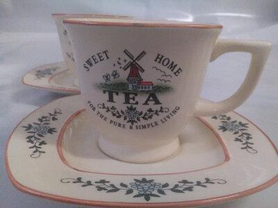 Чайный набор чашек с блюдцами DT810908 из керамики с рисунком, 2 шт, 200 мл