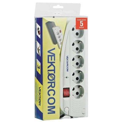 Удлинитель с сетевым фильтром 5 м светло-серый VEKTOR СОМ 4 розетки с заземлением и 1 розетка без заземления