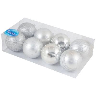 Набор из 8 серебряных шаров для елки 6 см SYCB17-538