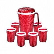 Кувшин 2 л Мозаика в наборе с 6 стаканами М5585 красный