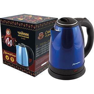 Чайник МАТРЁНА MA-002 электрический 1.8 л стальной голубой